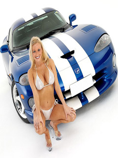 Blonde and sport car