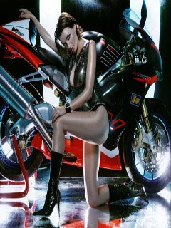 Sport motorcycle and beautiful girl
