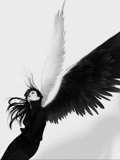 Black and white angel