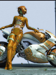 She-robot and motorbike