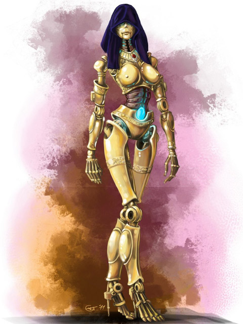 Naked female robot