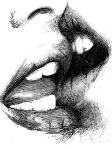 Pencil drawing of a kiss