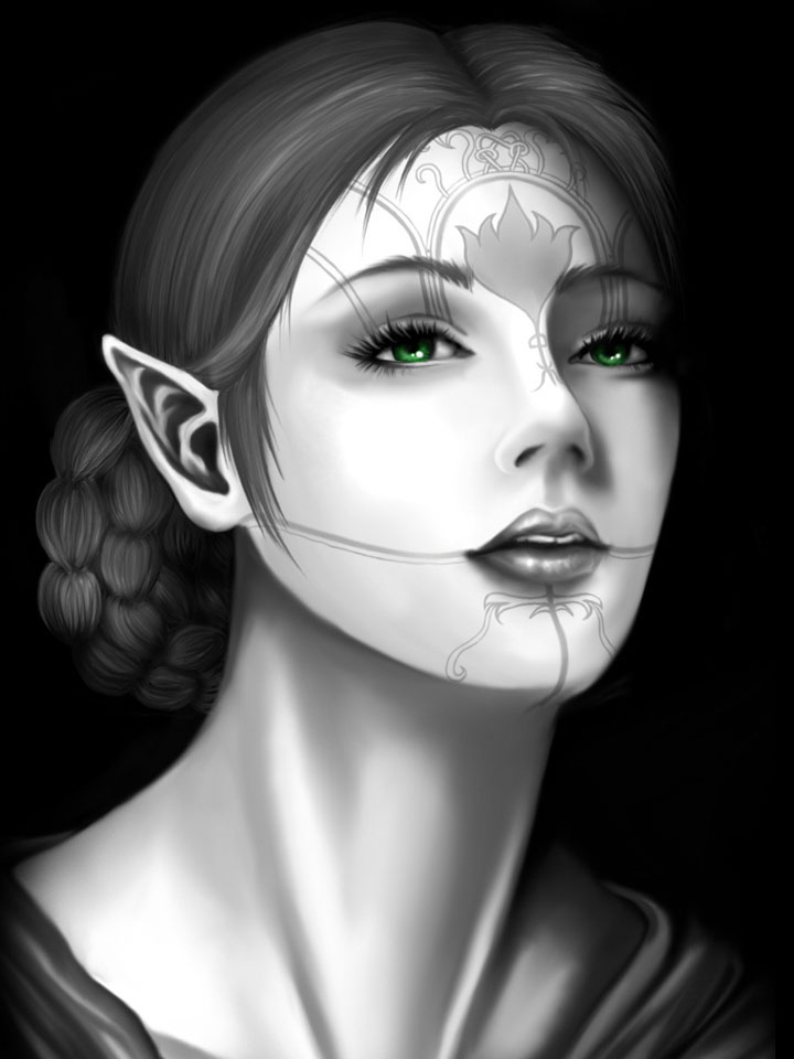 She-elf with a tattoo on her face