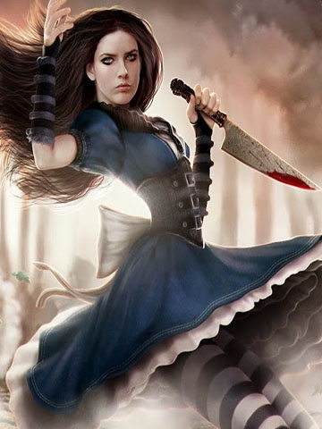 Alice with knife