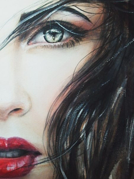 Brunette's face in detail