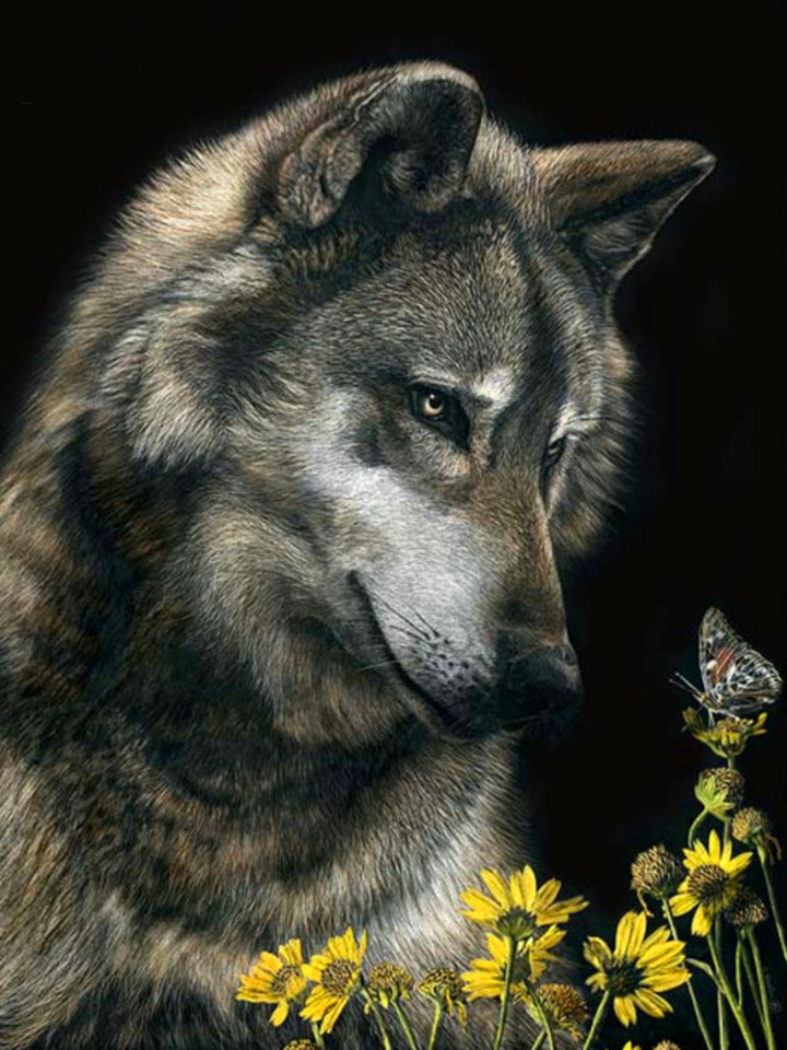 She-wolf and flowers