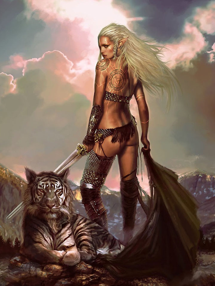 She-elf warrior and a tiger cub