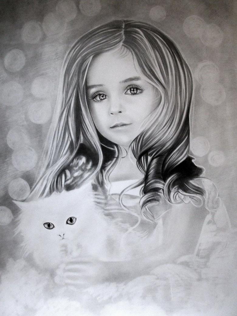Рождения, картинка красивых девочек нарисованных