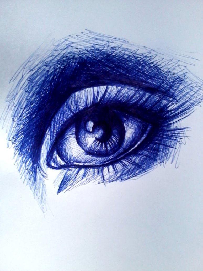 Рисованные картинки синим