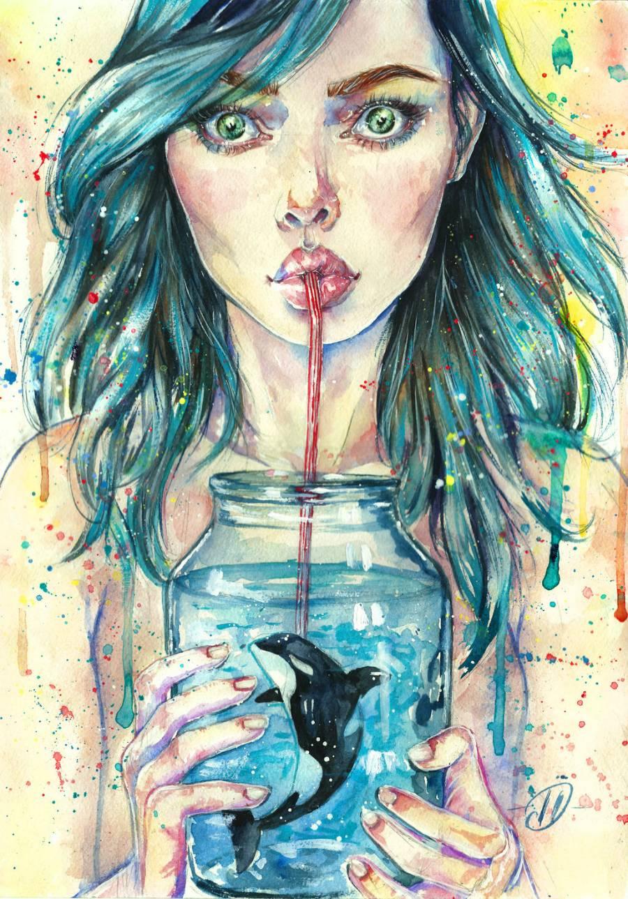 Картинки с девушками нарисованные на аву в воде